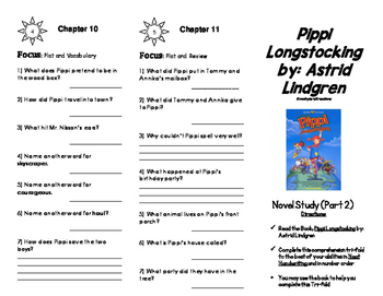 Pippi Longstocking Novel Study Foldable (2 Parts)