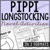 Pippi Longstocking Novel Unit Study Activities, Book Companion Worksheets