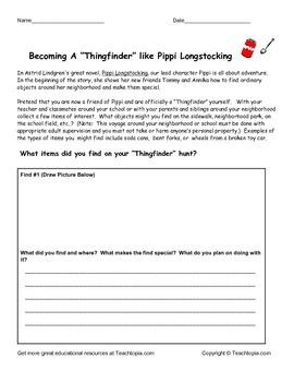 Pippi Longstocking Thingfinder Activity