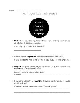Pippi Longstocking Vocabulary & Crossword Puzzles