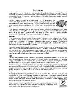 Piranha! Reading Comprehension