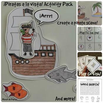 Piratas a la vista Pirates Activity Pack and Minibook Spanish Printable Resource