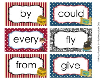 Pirate 1st Grade Dolch Sight Wall Words