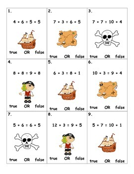 Pirate 2 Number Addition True or False
