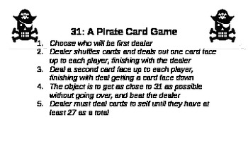 Pirate 31: A Counting Card Game