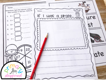 Pirate Activities No Prep Math and Literacy Pack