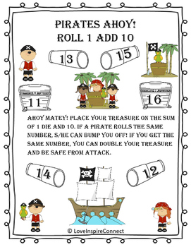 Addition Bump Game: Roll 1, Add 10 Pirate Theme