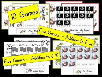 Pirate Additions Games - Adding 0-10