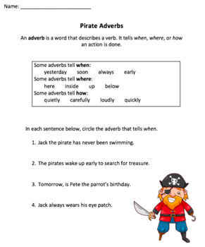 Pirate Adverbs Lesson: PowerPoint & Worksheet
