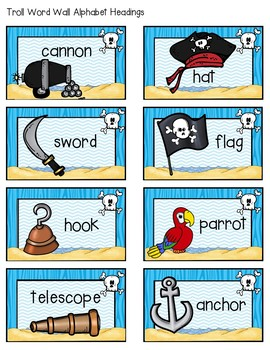 Pirate Word Wall Alphabet Headings and Vocabulary Cards