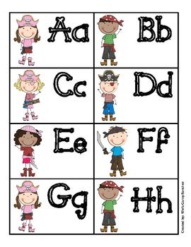 Pirate Alphabet Word Wall Cards
