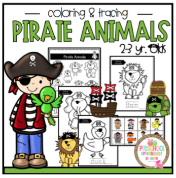 Pirate Animals Color and Trace