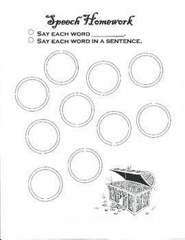 Pirate Articulation Homework