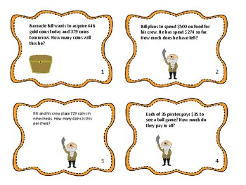 Pirate Basic Operations Word Problems Task Cards