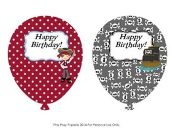 Pirate Birthday Balloons - 6 different designs