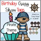 Pirate Birthday Crazy Straw Tags