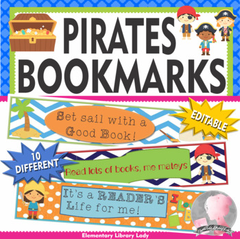 Pirate Bookmarks, Shelf Markers or Desk Name Plates