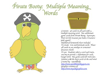 Pirate Booty:  Synonym Pairs and Multiple Meaning Words