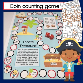 Pirate Bundle: Reading Center, Coin Counting, Patterning and Numbers to 100