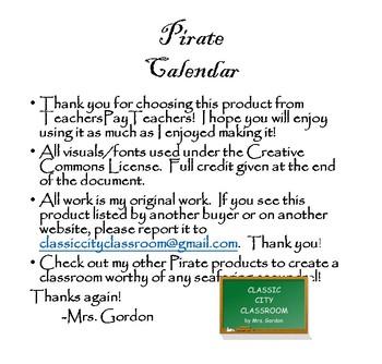 Pirate Calendar