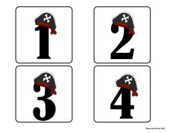 Pirate Calendar Number Cards