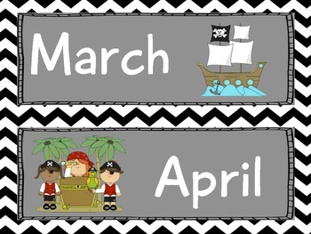 Pirate Calendar Set Black Chevron