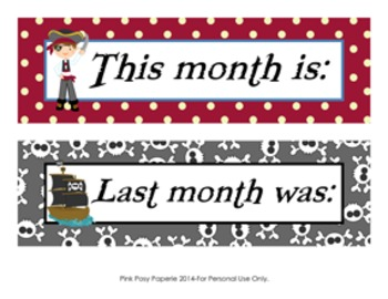 Pirate Calendar Set - Months - Days - Numbers