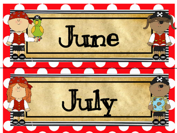 Pirate Calendar Toppers (June & July)