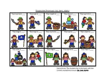 Pirate Cariboo for Pronouns, Plurals, Sentence production, Prepositions & More!