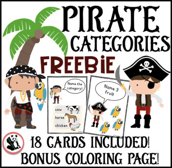 Pirate Category Cards FREEBIE : Speech Therapy