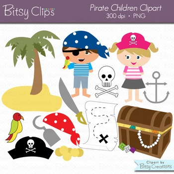 Pirate Children Digital Art Set Clipart Commercial Use Clip Art