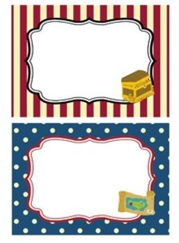 Pirate Classroom Bin Tag Labels