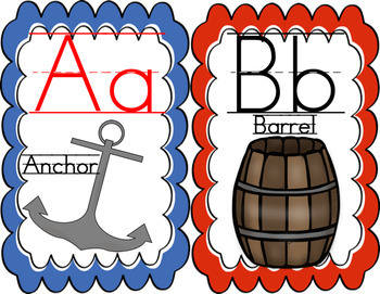 Pirate Themed Alphabet Cards for Word Wall and Classroom Use
