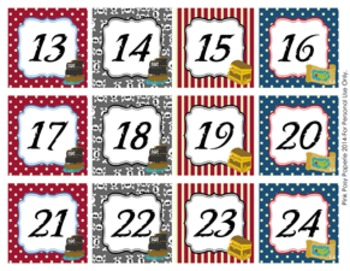 Pirate Classroom Decor Calendar Numbers