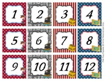 Pirate Classroom Decor Calendar Numbers