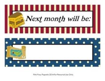 Pirate Classroom Decor Monthly Calendar Headers