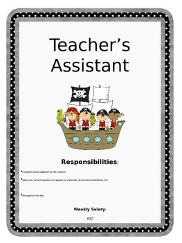 Pirate Classroom Job Descriptions