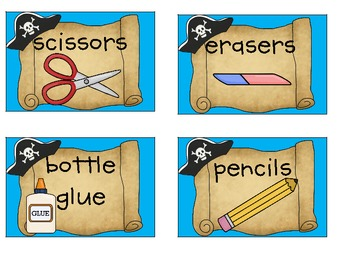 Pirate Classroom Supply Labels