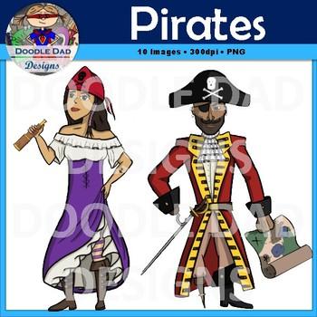 Pirate Clip Art (Cannon, sword, pig, treasure, captain)