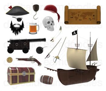 Pirate Clip Art - Pirating Ship Digital Graphics