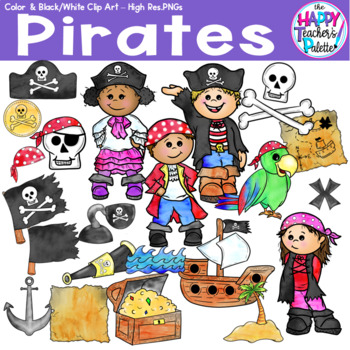 HTP Clip Art Pirate Watercolor {The Happy Teacher's Palette}