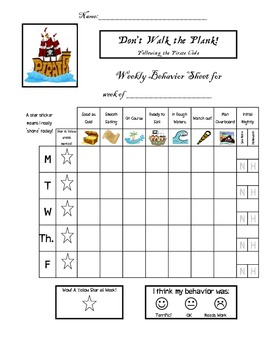 Pirate Clip Chart Behavior Daily Take Home Report