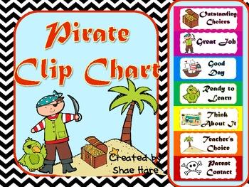 Pirate Clip Behavior Chart Labels - Positive Behavior {ship treasure map}