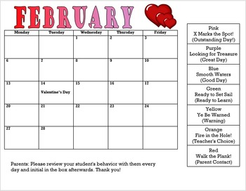 Pirate Clip Chart and Behavior Calendars Bundle