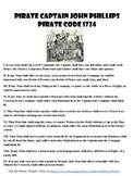 Pirate Code of 1724  Primary Source Worksheet