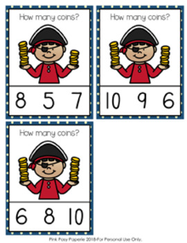 Pirate Coins Count and Clip Cards