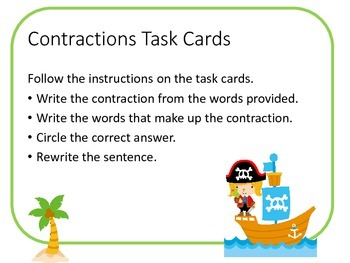 Pirate Contraction Task Cards