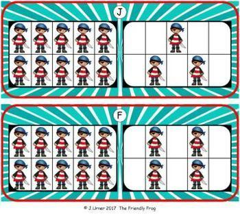 Pirate Count, Add & Subtract Bundle with 10 & 20 Frames {Subitizing}