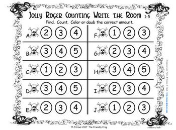 Pirate Counting with 5 Frames {Subitizing}