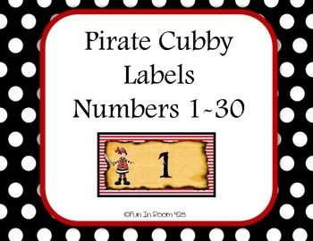 Pirate Themed Cubby Labels - numbered